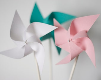 Favor 12 Mini Twirling Pinwheels Blue Pink and White Pinwheels Baby Shower Decor Wedding Favors (Custom orders welcomed)