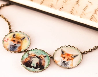 Fox Necklace - Foxes Necklace - Nature Inspired Jewelry - Woodland Jewelry - Necklace - Fox - Cameo Necklace - Gift For Her - Christmas Gift