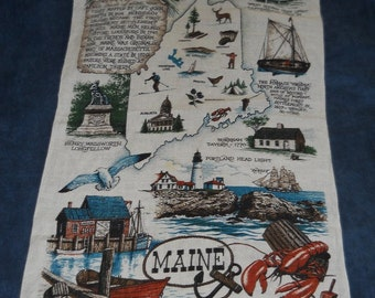 Maine Souvenir of Beautiful Artwork On a Framable Linen, Vintage