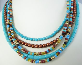 Turquoise Copper Mix Multi Strand Necklace for Interchangeable Collection detachable mix and match necklace turquoise mix seed bead