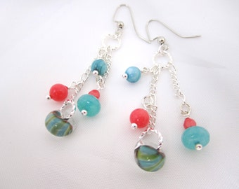 Shop CLOSING SALE< Coral and Aqua Lampwork Earrings Multi Bead Chain Handmade, 35% off coupon code