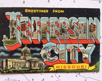 Greetings from Jefferson City MO Letter Card 1930 uncirculated