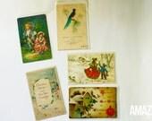 set of 5 vintage postcards, Christmas & Valentine