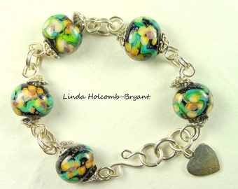 Silver Bracelet of Lampwork Glass Beads Field of Flowers