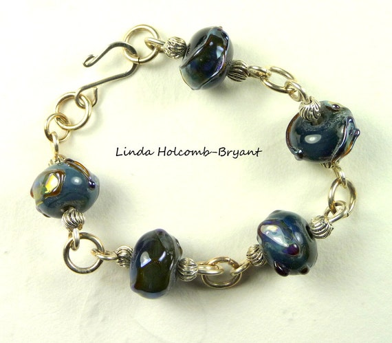 Silver Bracelet of Lampwork Glass Beads with Metallic Highlights