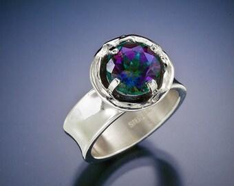 Organic ring mystic topaz sterling silver