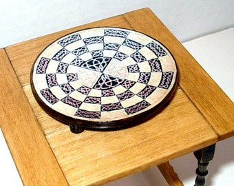 Round Chess Board, Medieval Dollhouse Miniature 1/12 Scale, Hand Made