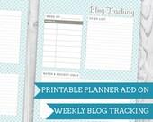 Blue Wave Blog Tracking - Planner Add On : DIGITAL FILE