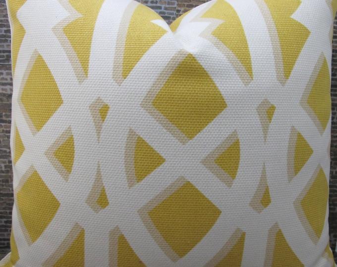 Designer Pillow Cover  - 18 x 18, 20 x 20, 22 x 22 -  Trellis ELTPK Yolk Yellow