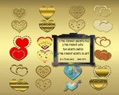 Valentine's Day Digital Hearts, printable hearts, lovers art, wedding, anniversary, baby shower, golden hearts printable, hearts art, hearts