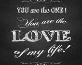 Valentine's Day chalkboard Word art, Wedding Script, Love words art, chalkboard love typography,instant download paper, printable art,