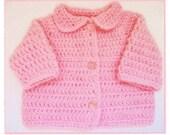SALE Baby Crochet Sweater, newborn 0-3m. Soft pink Ready to Ship