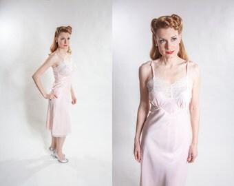 1940s Full Slip Bur Mil Rayon - Colleen Lingerie Full Slip - Vintage Bridal Fashions Size S