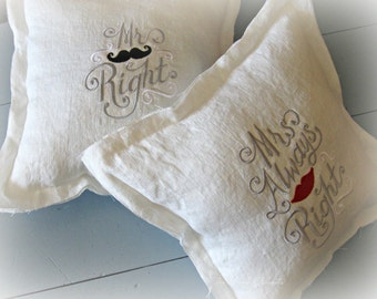 Mr Right/ embroidered/ European/ linen/ pillow/ wedding/ bridal shower/ wedding decor/ anniversary/ country wedding