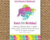Craft Party Printable Invitation, Arts and Crafts Birthday Invitation, Craft Invitation, Art Party, Painting Party, Art Birthday