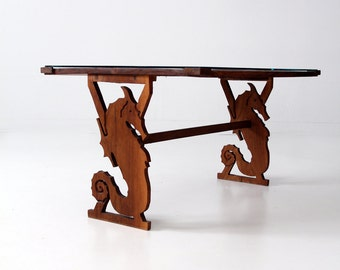 mid century coffee table, ocean design accent table, beach house table