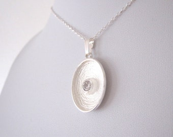 925 Sterling Silver CZ stone concave texured oval pendant with necklace chain