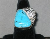 Kingman Turquoise Sterling Silver Ring, Size 9 1/4
