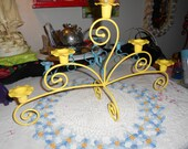 Hollywood regency Easter yellow candelabra petal holders five arm