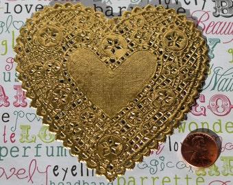Gold Heart Doilies - Set of 24