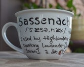 Made to Order: Sassenach Definition Mug - Outlander - Black and white with copper - Hand painted, literary mug - Scotland - Jamie Fraser