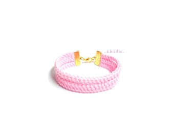 Crochet bracelet BLUSH PINK cotton yarn, gold metal lobster lock, fiber bracelet