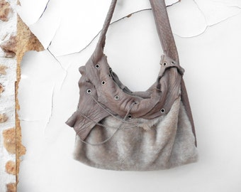 Leather and Shearling Slouchy Purse  with Biker Style Chain and Rivet Finish - Made to Order