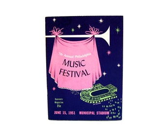 Vintage Music Festival Program Mid century Retro Atomic Graphic Musical Pink Lime Green 1951 Concert Philadelphia Big Band Musician Gift