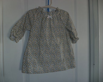Peasant Dress, Yellow & Blue Rosebud Print  Toddler Sizes 1T or 2T only, Ready to Ship, Sample Sale