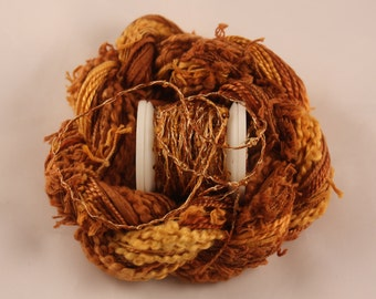 Copper Brown Yellow Gold Beaded Embroidery thread seed beads sequins hand dyed ribbon weaving supply quilting embellishment bead yarn