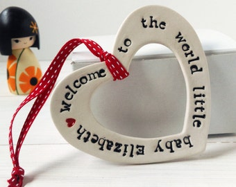 Personalised Baby Keepsake Gift Hanging Heart unique new baby Christening baby shower