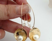 Long yellow gold earrings, 925 silver earrings, dangle 24K gold plated earrings, gold pearl earrings, simple earrings and fresh water pearl