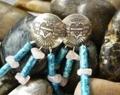 ThunderBird Sterling Native American Earrings,Dangle Turquoise Navajo Earrings