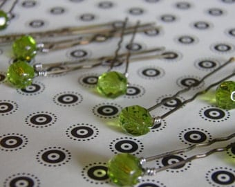 12 Light Green 8mm Crystal Hair Pins