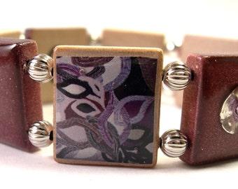 Dazzling Purple Scrabble Bracelet