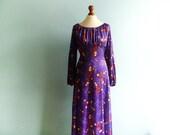 Vintage Maxi Dress Boho Hippie / Violet Floral / Off Shoulder / High Waisted / Long Sleeve / medium