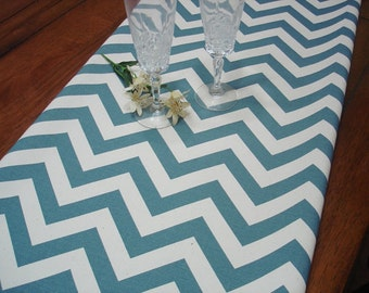 Table Runner. Table Cloth. Chevron  Blue Decoration. Holiday Decor. Blue  13 X 72 table runner Wedding Bridal Shower