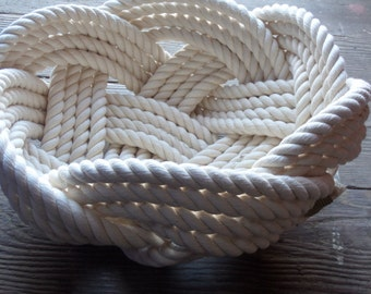 "Nautical Decor Cotton Rope Bowl Basket 10"" x 5"" Tightly Woven Beach Marine Ocean Coastal"