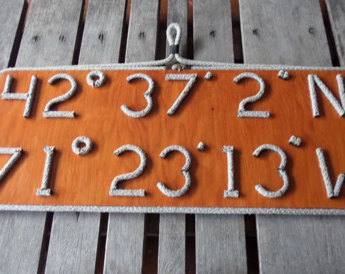 Navy or Wood Stained Wall Hanging Nautical Latitude & Longitude MADE TO ORDER Sign