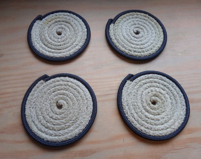 Rope Coasters Natural with Blue Trim Nautical & Rustic Decor Set of 4 Great gifts Stockiing Stuffers