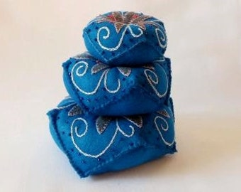 JUMBO Hand Embroidered Pin Cushion in Blue, Flower Pattern