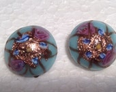 Vintage Murano Wedding Cake Clip Earrings