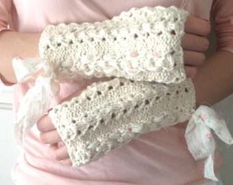 Organic Cotton Fingerless Gloves, Cream and Flowers