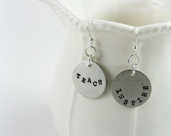Teacher Earrings (Inspire and Teach Jewelry in Sterling Silver)