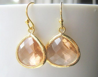 Blush Drop Earrings, Gold Teardrop, Bridesmaid Earrings Glass Dangle, Bridal, Wedding, Champagne, 14K Gold Filled Wire, Peach