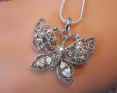 Victorian Style Vintage Rhinestone Butterfly Pendant  and Sterling Chain - BUT-7 - Butterfly Necklace - Rhinestone Pendant & Sterling Chain