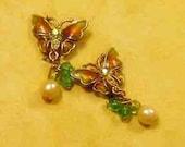 Vintage Orange and Green Enamel Butterfly Clip Earrings - BUT-167 - Enamel Butterfly Earrings - Green Butterfly Earrings