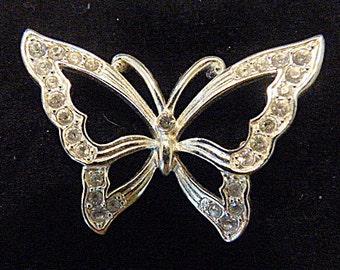 Vintage Rhinestone and Silver Butterfly Brooch - BUT-39 - Rhinestone Butterfly Brooch - Rhinestone Brooch - Silver Brooch