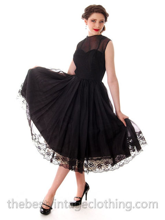New Price Fun Vintage Dress Black Sheer Full Skirt 1950s Small | Dance Time by Phyllis