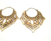 Butterfly Hoops- Gypsy Hoops- Ethnic Earrings- Brass Earrings